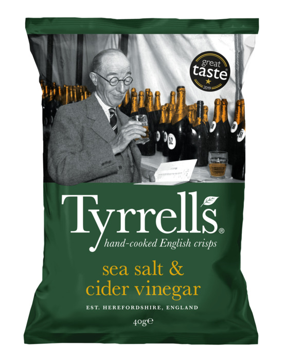 Tyrrells Aardappelchips Gekruid met Zeezout en Appelazijn 40 g (40g)