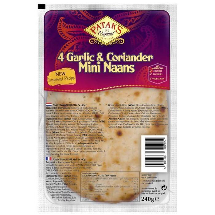 Patak's Mini naan garlic & coriander (4 × 248g)
