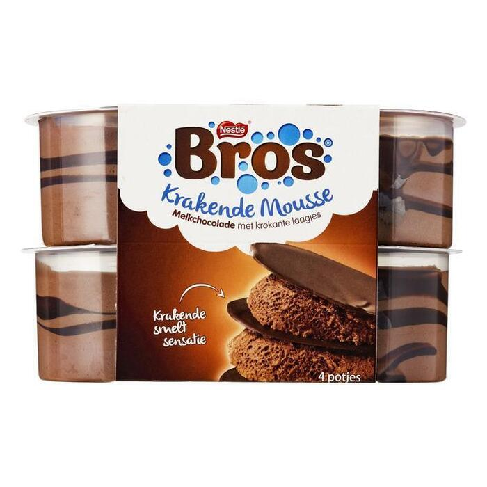 Bros krakende mousse melkchocolade 4st (kuipje, 4 × 57g)