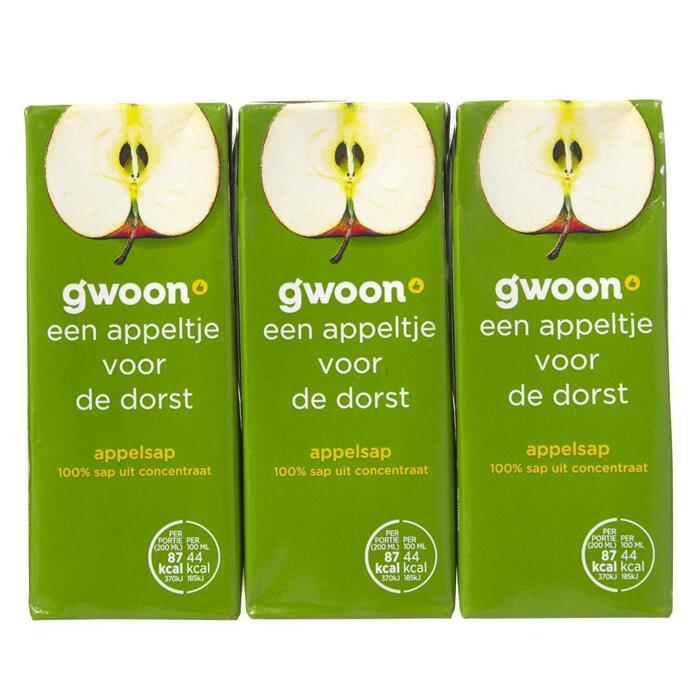 g'woon Appelsap pak 6 x 20 cl (6 × 1.2L)