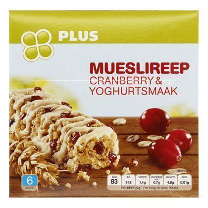 Mueslireep cranberries en yoghurt (6 × 23g)