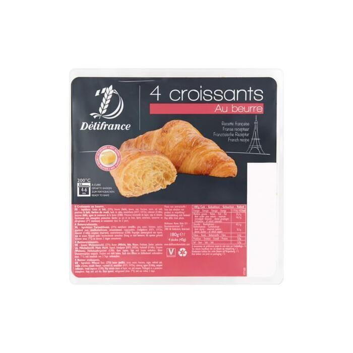 Delifrance Croissants Au Beurre 4 Stuks 180 g (4 × 180g)
