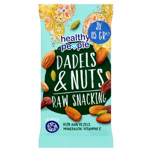 Healthy People Raw Snacking Dadels & Nuts 45g (3 × 45g)