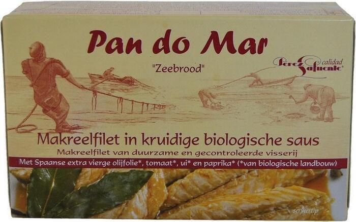 Makreelfilet in kruidige biologische saus (blik, 120g)