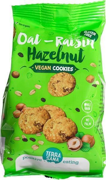 Glutenvrije koekjes met haver, rozijnen en hazelnoten TerraSana 150g (150g)
