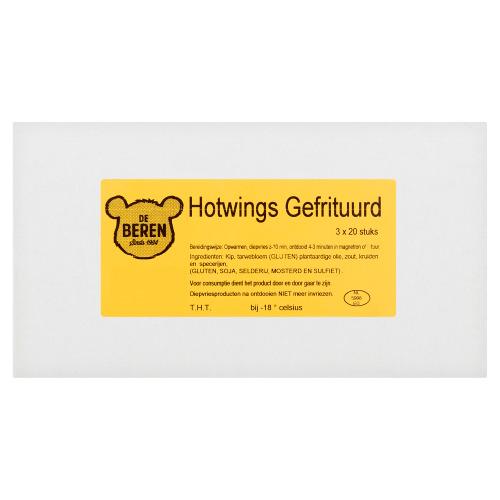 DE BEREN Hotwings Gefrituurd 3 x 20 Stuks