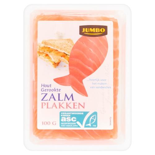 Jumbo Hout Gerookte Zalm Plakken 100g (100g)