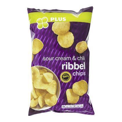 PLUS Chips ribbel sour cream chili (215g)