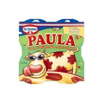Paula  vanillevla met chocolade vlekken (4 × 125g)