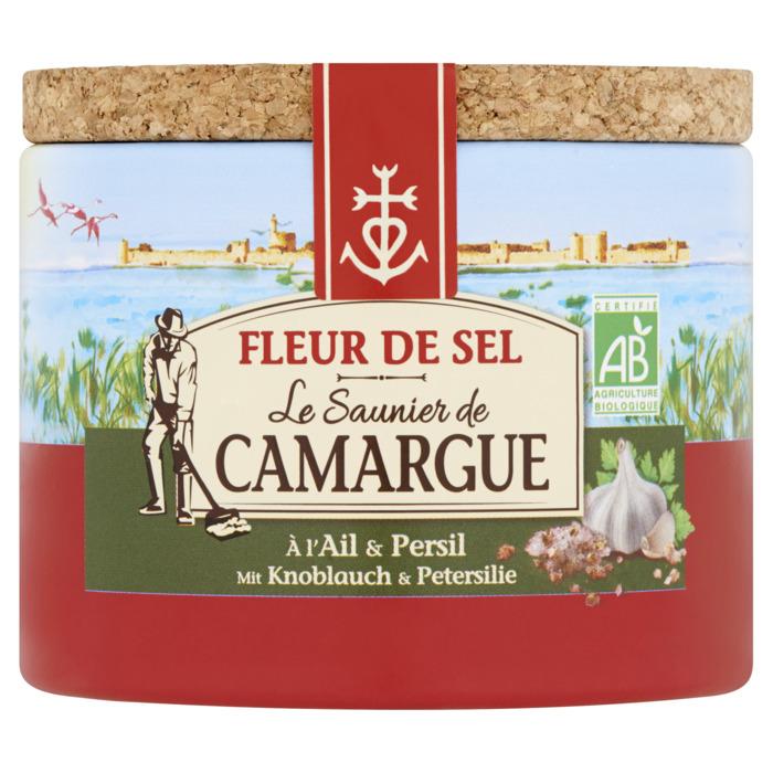 Fleur de Sel de Camargue met knoflook en peterselie - kostbare bloemblaadjes van zout, met de hand geoogst door de zoutzieders - vervolmaakt de smaak van gerechten (125g)