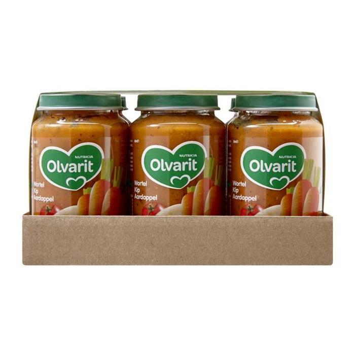 Olvarit Wortel Kip Aardappel Bruine Bonen Appel Rundvlees Aardappel 8+ Maanden Voordeel 6 x 200g