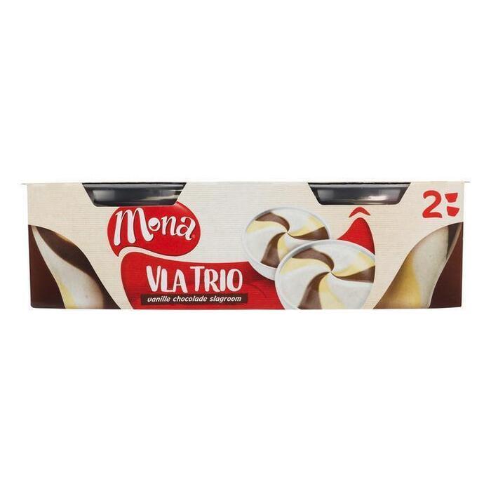 Trio vla vanille chocolade en slagroom (Stuk, 2 × 135g)
