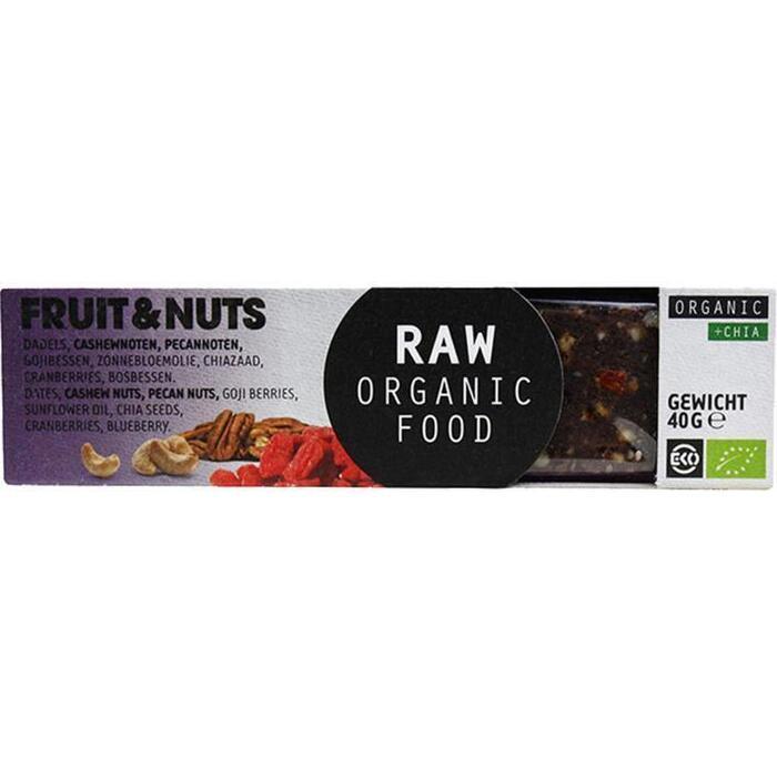Raw Organic Food Fruit & notenreep chia (Stuk, 40g)