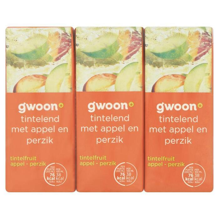 g'woon Tintelfruit appel & perzik pak 6 x 20 cl (1.2L)