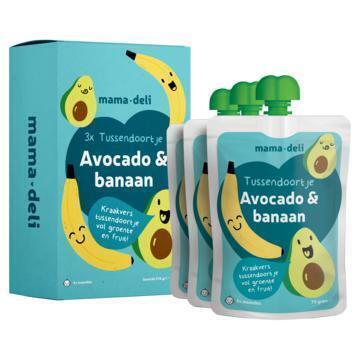 Mama deli Tussendoortje avocado & banaan 4+ mnd (3 × 70g)