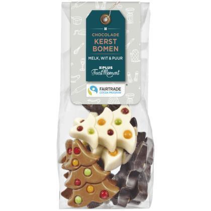 PLUS Feestmoment Chocolade kerstbomen (FCTP) Fairtrade (150g)