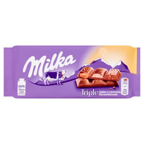 Milka Triple Karamelsmaak Melk Chocolade Reep 90g (tablt, 90g)