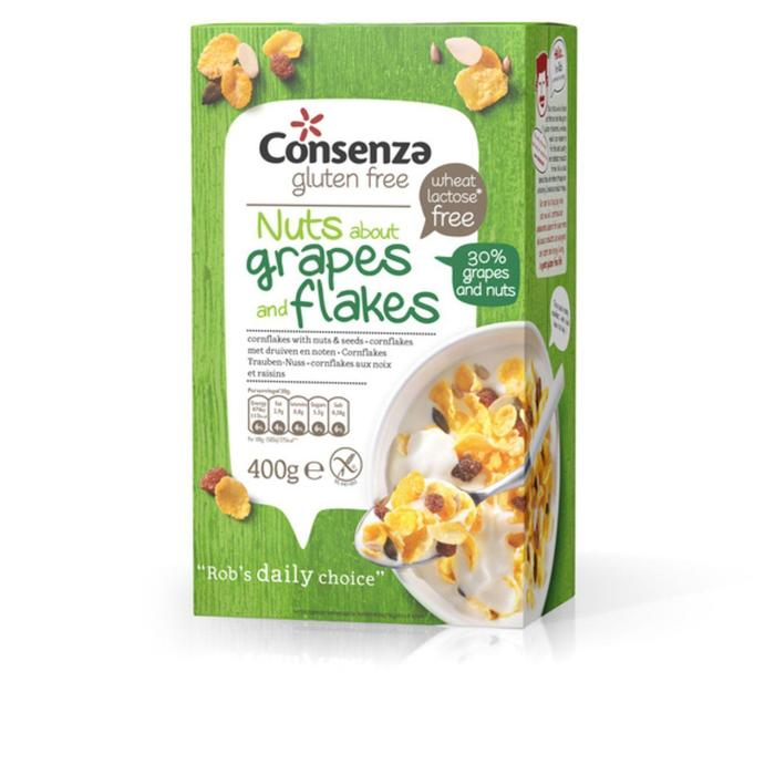 Consenza Cornflakes met druiven en noten (400g)