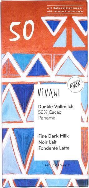 Chocolade puur-melk 50% cocoa 'Santo Domingo' (80g)