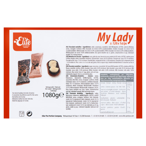 ELITE Chocolade medaillon MY LADY 120ST (1.08kg)