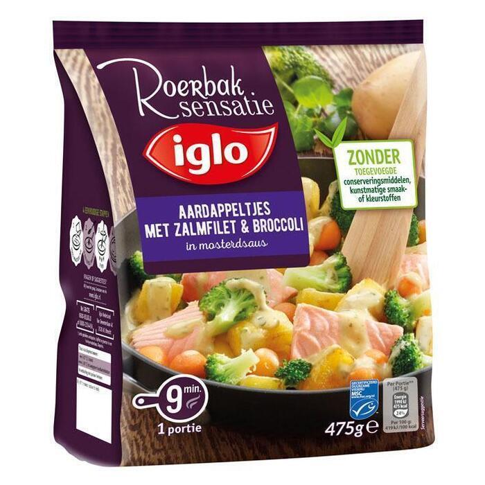 Aardappeltjes met zalmfilet & broccoli in mosterdsaus (zak, 475g)