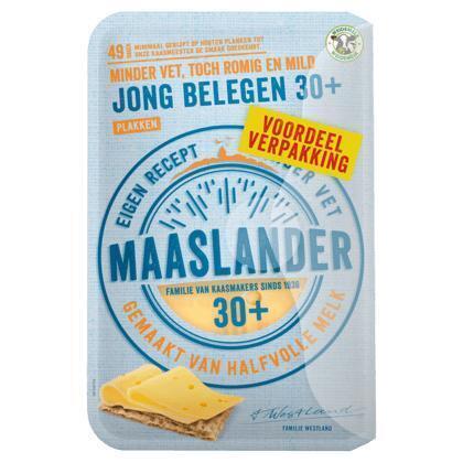 Maaslander Jong belegen 30+  kaas gesneden voordeelverpakking (12 × 300g)