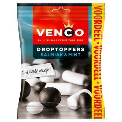 Venco Droptoppers salmiak & mint VDV (195g)