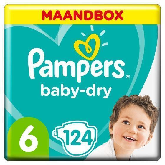 Pampers Baby-Dry Maat 6, 15+ kg, x124 Luiers, Maandbox