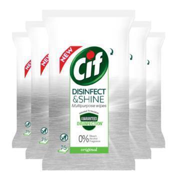 Cif Disinfect & Shine Wipes Original 5 x 75 Doekjes (5 × 2.1kg)