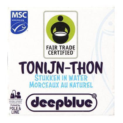 Deep blue Tonijnstukken in brine P&L, MSC & FT (160g)
