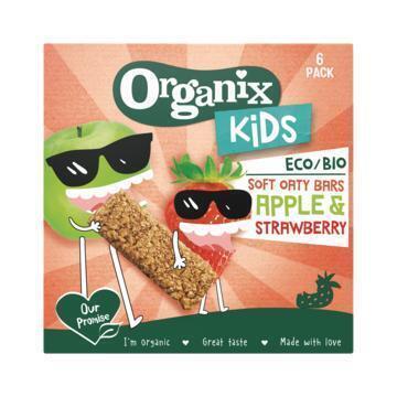 Organix Kids Bio Granenreep Appel en Aardbei 6 x 30 g (6 × 30g)