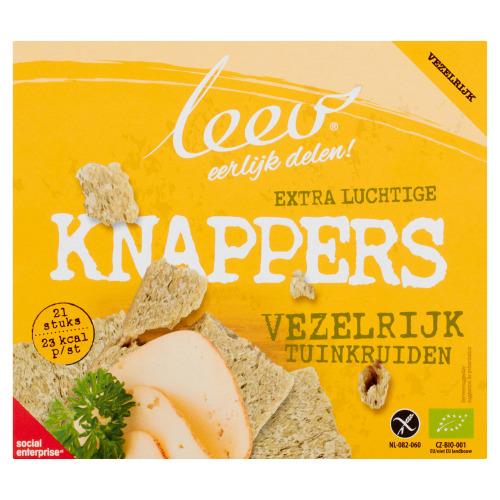 Leev biologische glutenvrije OERRR KNAPPERS vezelrijk tuinkruiden, 150g, doos (21 × 150g)