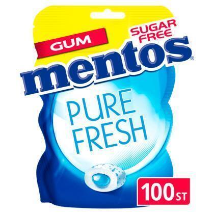 MENTOS GUM Pure Fresh Fresh Mint Kauwgum 200 GR Zak (100 × 200g)