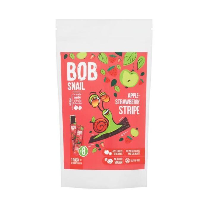 Bob Snail Appel en Aardbeien Fruitstrips 8 x 14 g (8 × 14g)