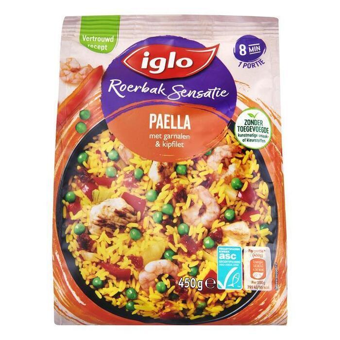 Iglo Roerbaksensatie Sp. paella 450 gr (Stuk, 450g)