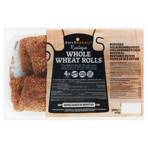 Dutch Bakery Rustique Whole Wheat Rolls 4 x 75 g (4 × 75g)