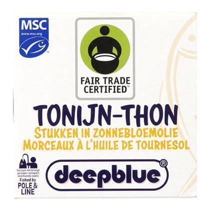 Deep blue Tonijnstukken in zonnebloemolie P&L FT (160g)