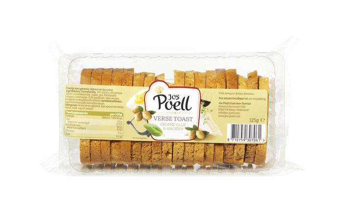 Jos Poell Verse Toast Groene Olijf & Kruiden 125 g (125g)