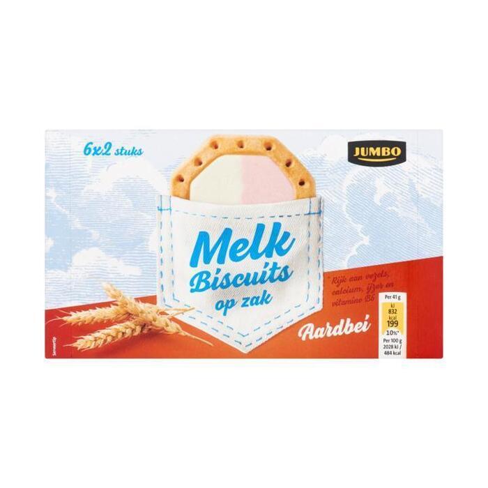 Jumbo Melk Biscuits Aardbei 6 x 2 Stuks 245 g (6 × 40.8g)