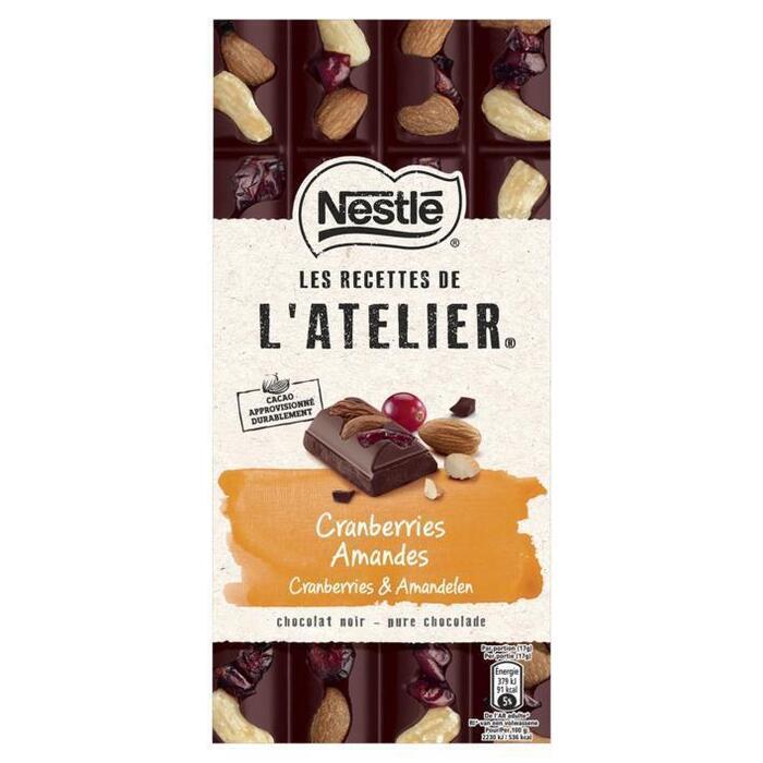 NESTLE LES RECETTES DE L'ATELIER Chocolade Puur Cranberry Amandel 170 Gram Wikkel (170g)