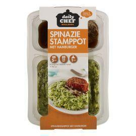 Daily Chef Spinazie stamppot met hamburger & mosterdjus (500g)