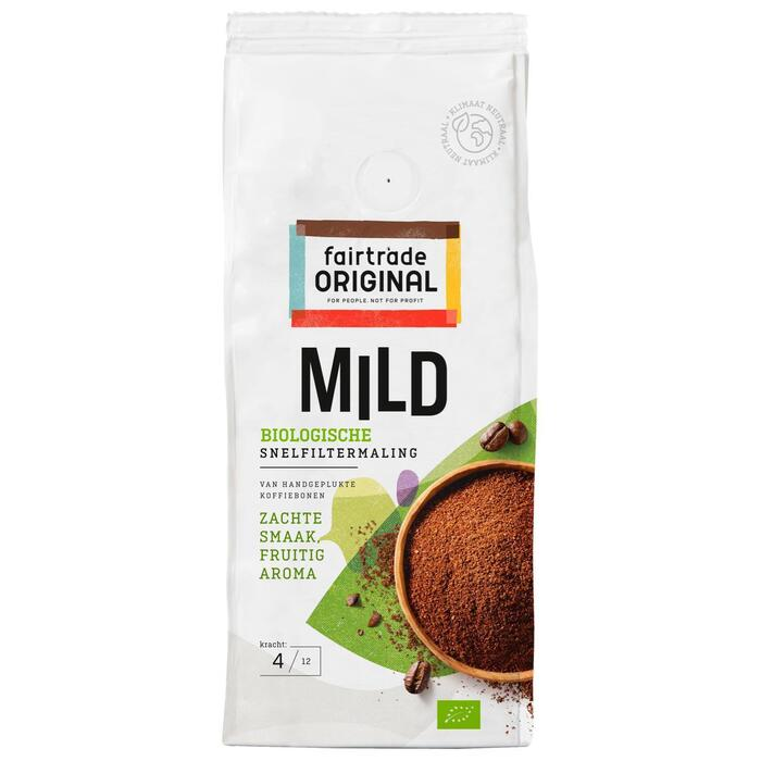 Fairtrade Original Mild Biologische Koffie Snelfiltermaling 250 g (Stuk, 250g)