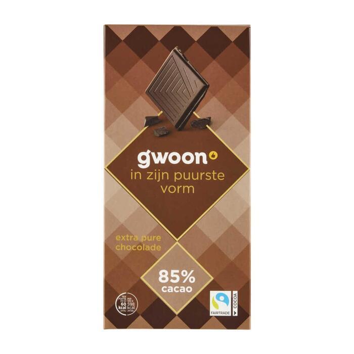 g'woon Chocoladereep extra puur 85% (100g)