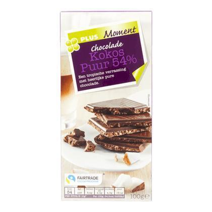 Tablet puur 54% met kokos fairtrade (100g)
