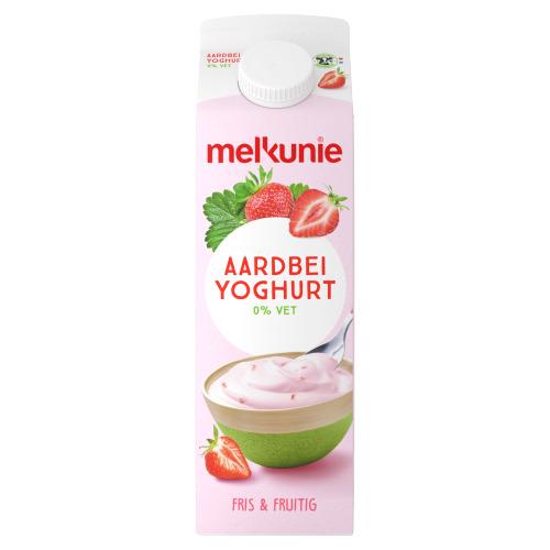 Melkunie Magere yoghurt met aardbei stukjes (1L)