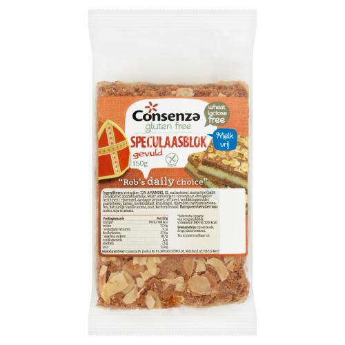 Consenza Gluten Free Speculaasblok Gevuld 150 g (150g)