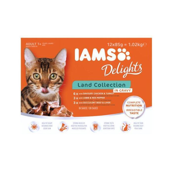 Iams Delights Land Collection 12 x 85g (12 × 1.02kg)