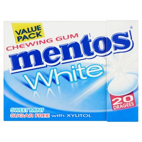 MENTOS GUM White Sweetmint Kauwgum 30 GR Doos (20 × 30g)