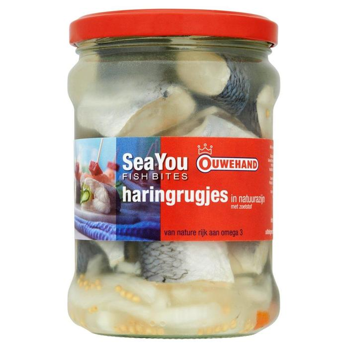 SeaYou Fish Bites, Haringrugjes in Natuurazijn, MSC (Glazen pot 515g) (Stuk, 515g)