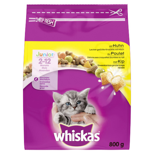 Whiskas Junior Onweerstaanbare Gevulde Brokjes met Melk met Kip 2-12 Maanden 800g (800g)